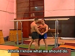 Gay fuck action at one's fingertips gym