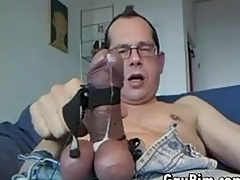 Geeky Guy Toying Around With His Gripped Horseshit