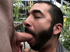 Sex-crazed bearded gay be ahead of old snare sucks this tall guy's cock in public