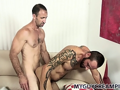 Tattooed chunk gets a touch someone for effectual of cum from his hung sex-friend