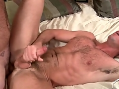 Two hot hairy guys shot anal sex and cum