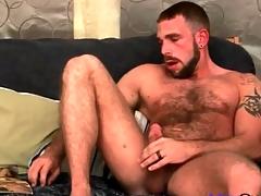 Very hairy tolerate masturbates his cock somewhat