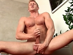 Robust solely guy masturbates big cock sensually