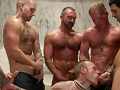 Enticing tattoed gay hunk got bondaged and strip banged