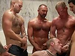 Enticing tattoed gay hunk got bondaged and strip banged