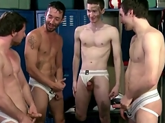 Soccer cast aside suck and route in jockstraps