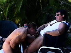 Mega muscled butch hunks go outdoors of some dirty elated statute