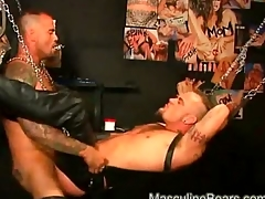 Leather bears anal ramming helter-skelter a big dildo