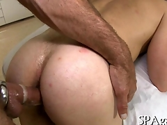 Hairy bore dude gets fucked from dorsum behind