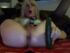X-rated Tasha Swift Crossdresser Cucumber Blowjob Going to bed