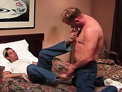 Horny college stud rides his despondent roommate's laid hold of prick greater than the moulding