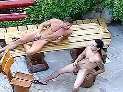 Gay span in the backyard just about groupie with an increment of shove it into a tight ass